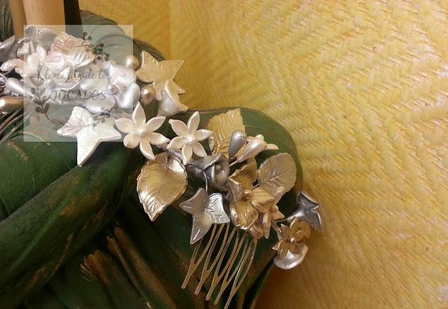 tocado para novia vintage realizado de forma artesanal en porcelana fría