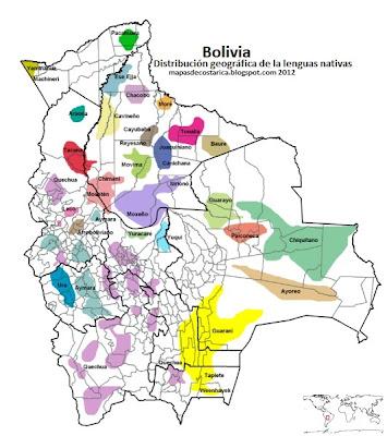 Mapa de Distribución geográfica de la lenguas nativas de Bolivia