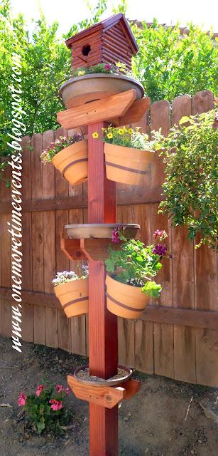 diy planter and birds bath