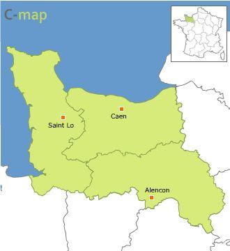 Baja Normandía Mapa de Ciudades