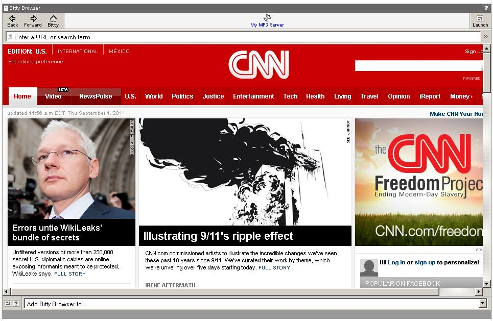 Cnn.com is embedded inside my Moodle coursepage using normal iframe HTML code. This is an image only.