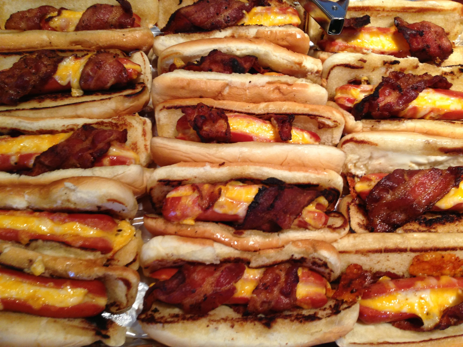 ... 're a firework {cheese stuffed bacon wrapped hot dogs & grilled corn