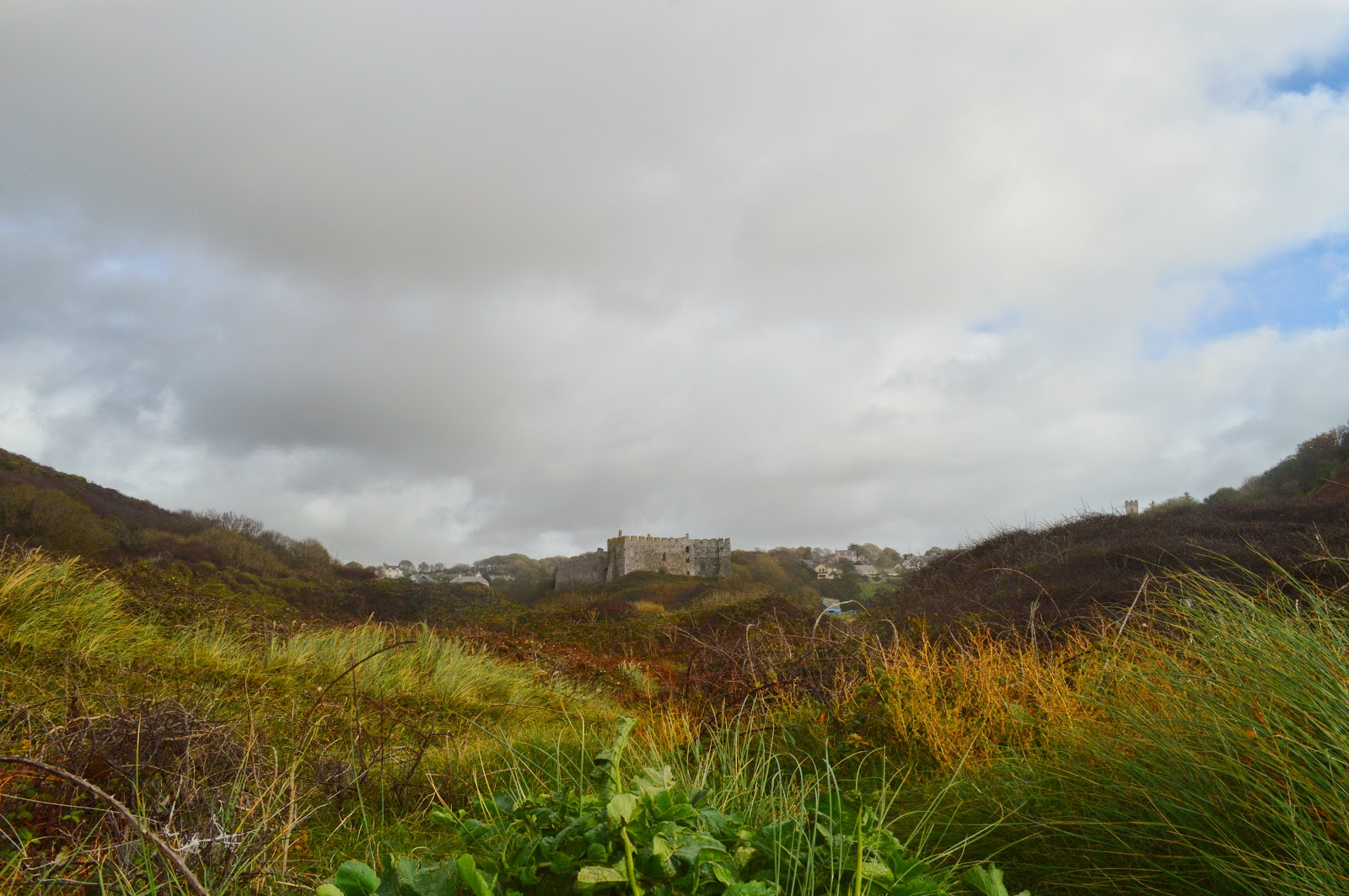 Manorbier Castle seen from Manorbier Beach, Pembrokeshire, Wales