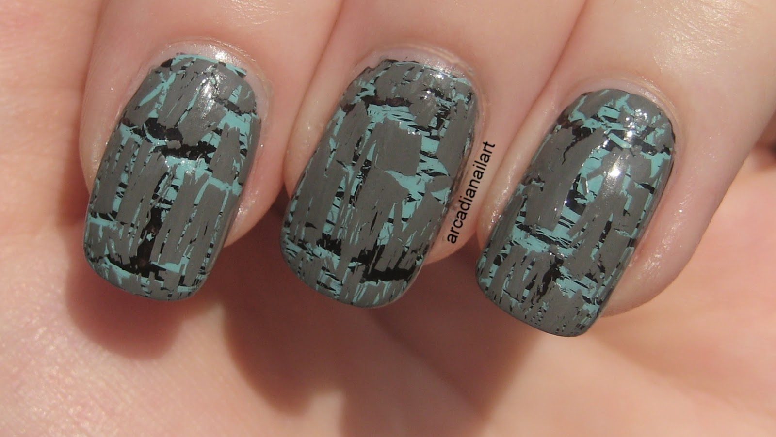 Arcadianailart Double Layered Shatter Crackle Nail Art Ideas