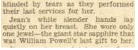 Newspaper excerpt, Harlow wore the sapphire ring given to her by Powell when buried