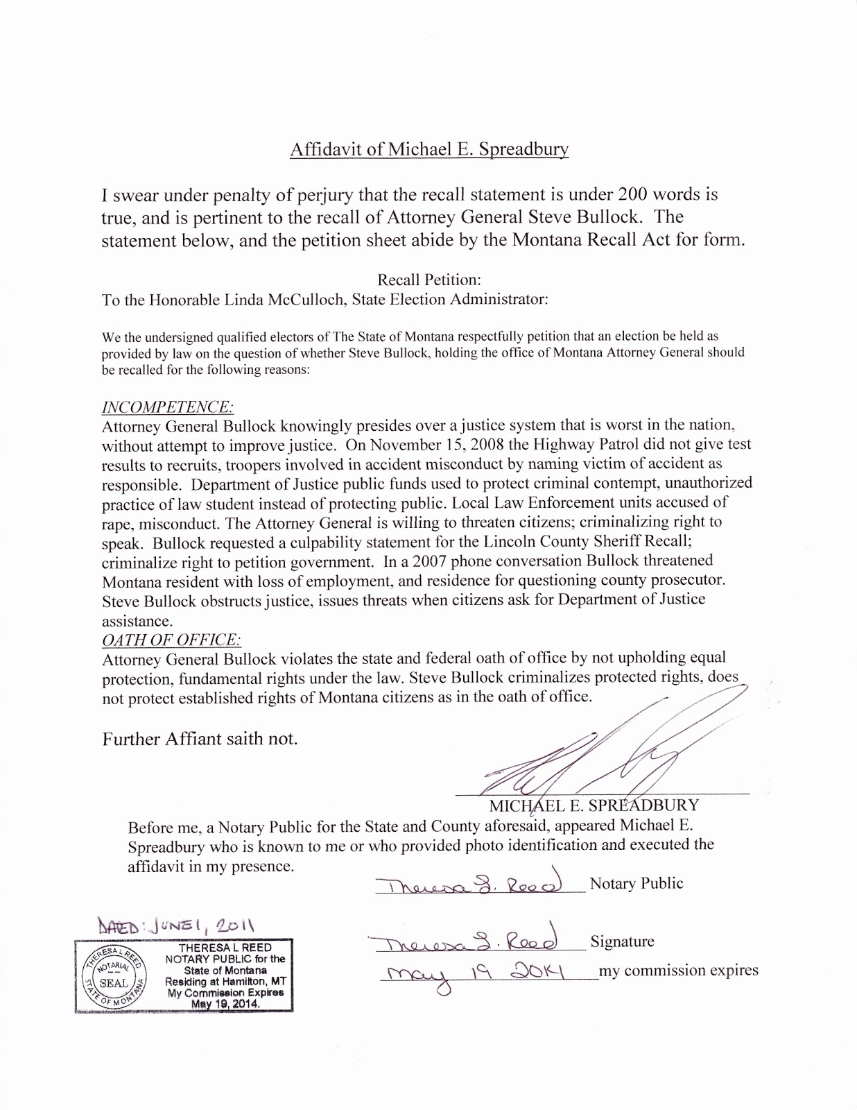 Bullock Affidavit Stevebullockmtblogspotcom How To Write An Affidavit Uk How  To Write An Affidavit Uk  How To Write An Affidavit Uk