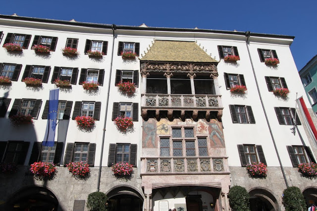 A close up of The Golden Roof is a famous landmark in Innsbruck, Austria
