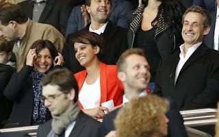 Najat Vallaud-Belkacem, Anne Hidalgo et Nicolas Sarkozy en tribunes pour le match PSG - Chelsea