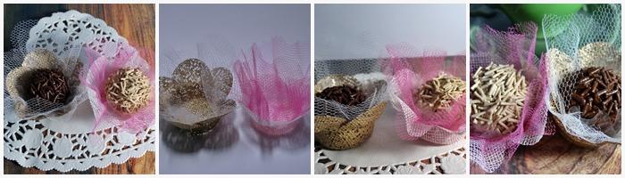 Forminhas flor de tela com tule
