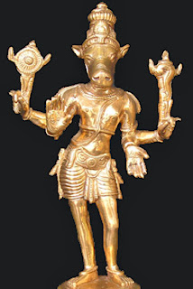 Kalki, Vishnu's tenth and last incarnation, which has yet to come. Vishnu himself will appear on earth at the dose of the Kaliyuga, the present age, riding the white horse Kalki, and will destroy the world in preparation for a new creation