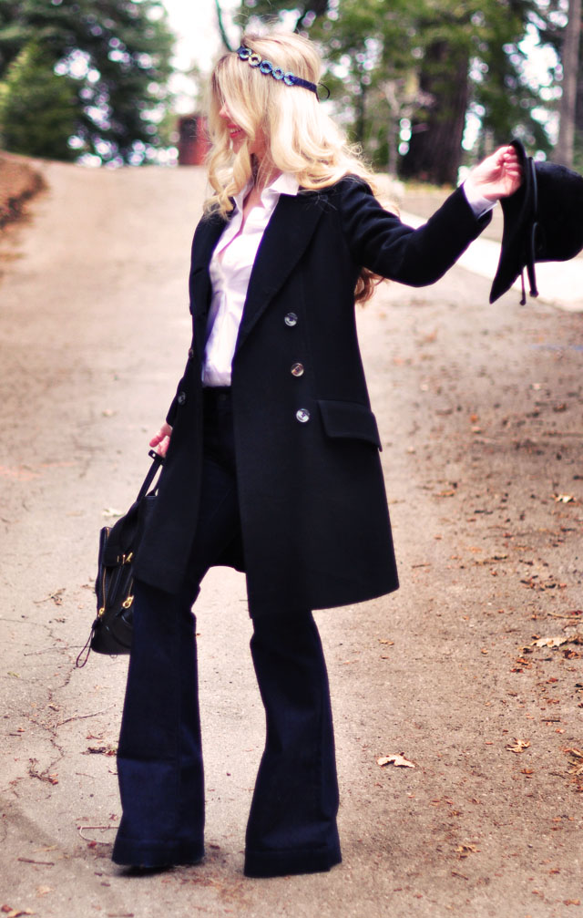 Pretty DIY hair accessories, classic retro outfit, dark flares, vintage military coat