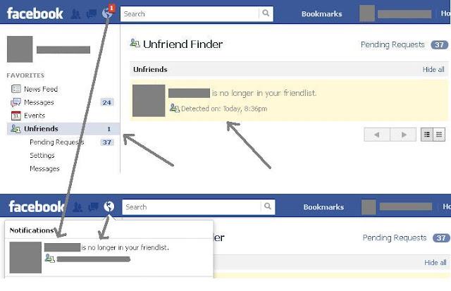 Trick to find Facebook Unfriend friends list