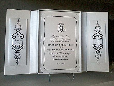 O convite do casamento de Kim Kardashian