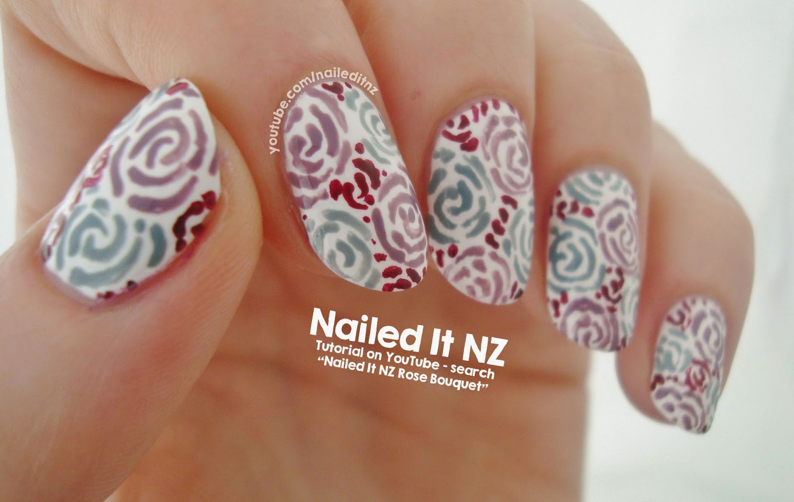 Bouquet of Roses Nail Art   Essie Nail Lacquer