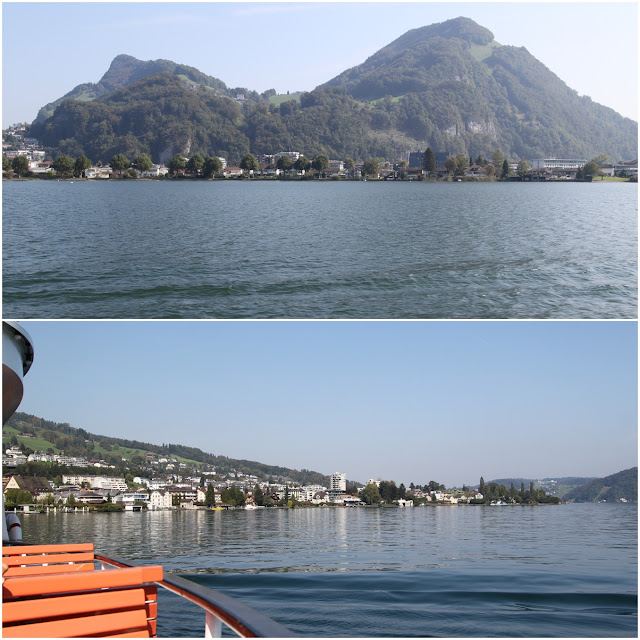 Greenery mountains and beautiful Lake Lucerne in Lucerne, Switzerland