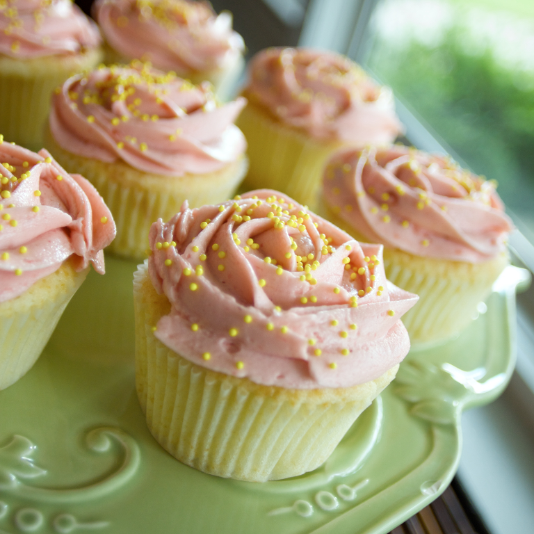 Vanilla Strawberry Cupcakes with Strawberry Cream Cheese Frosting