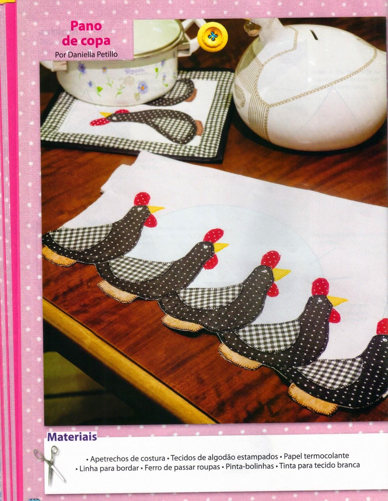 Patch aplique de galinhas em pano de prato