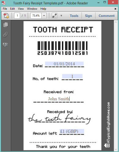 It is a photo of Slobbery Free Printable Tooth Fairy Receipt