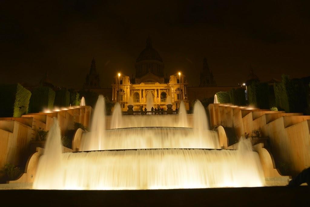 Barcelona by night water cascade