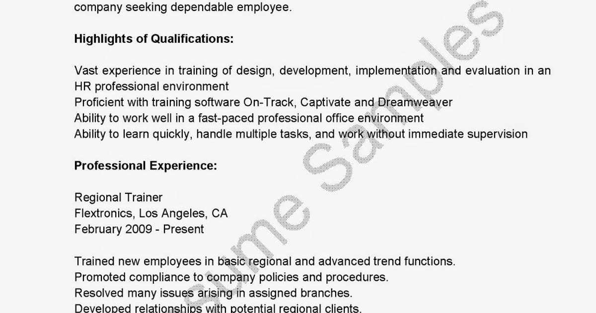 resume samples regional trainer resume sample