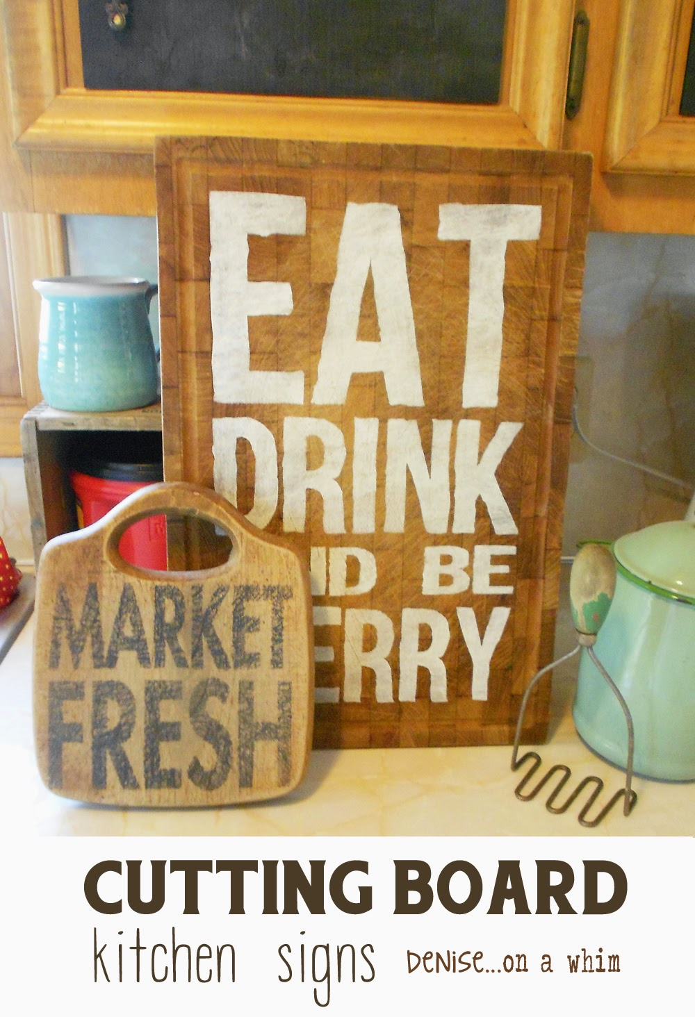 Garage Sale Cutting Boards Find New Life as Kitchen Signs via Denise on a Whim.