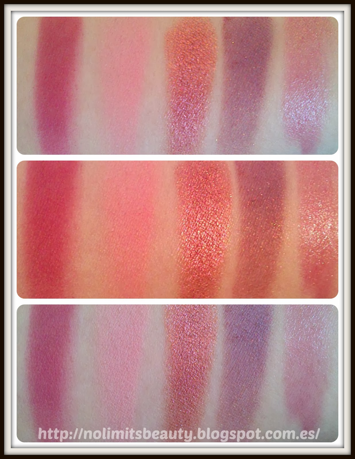 Swatches MAC: Colorete Fever, Colorete Immortal Flower, Sombra Mythical, Sombra Trax, Labial Sophisto