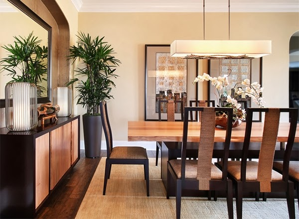 a dining room that features beautiful modern lines with clean asian luxuries brought by the natural beauty of organic decoration inside style furniture