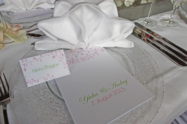 Menükarten und Tischkarten romantisch zur Hochzeit von der Kartenmacherei
