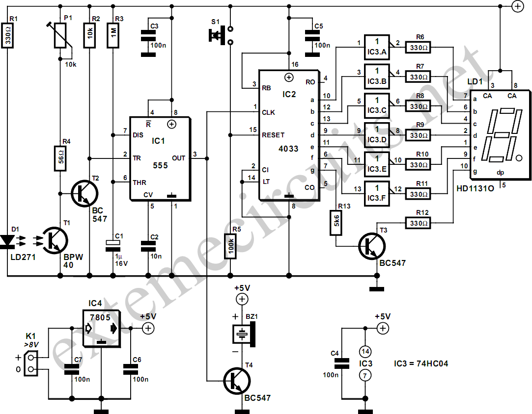 nte electronics circuit  light gate with counter using 555 and 4033