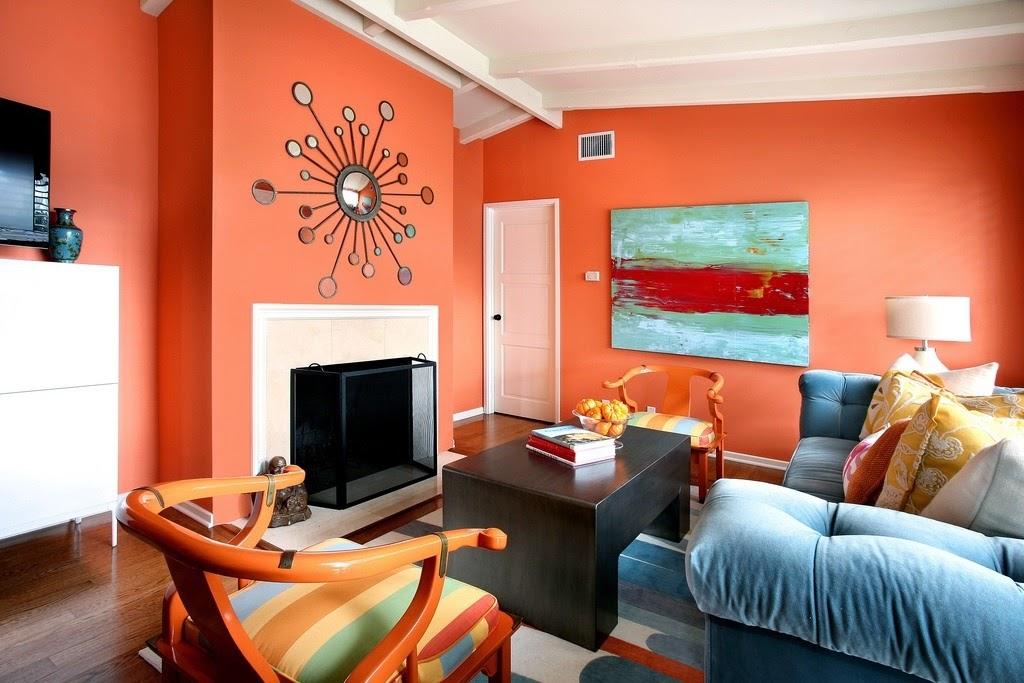 Warna Cat Orange untuk Dinding Ruang Keluarga