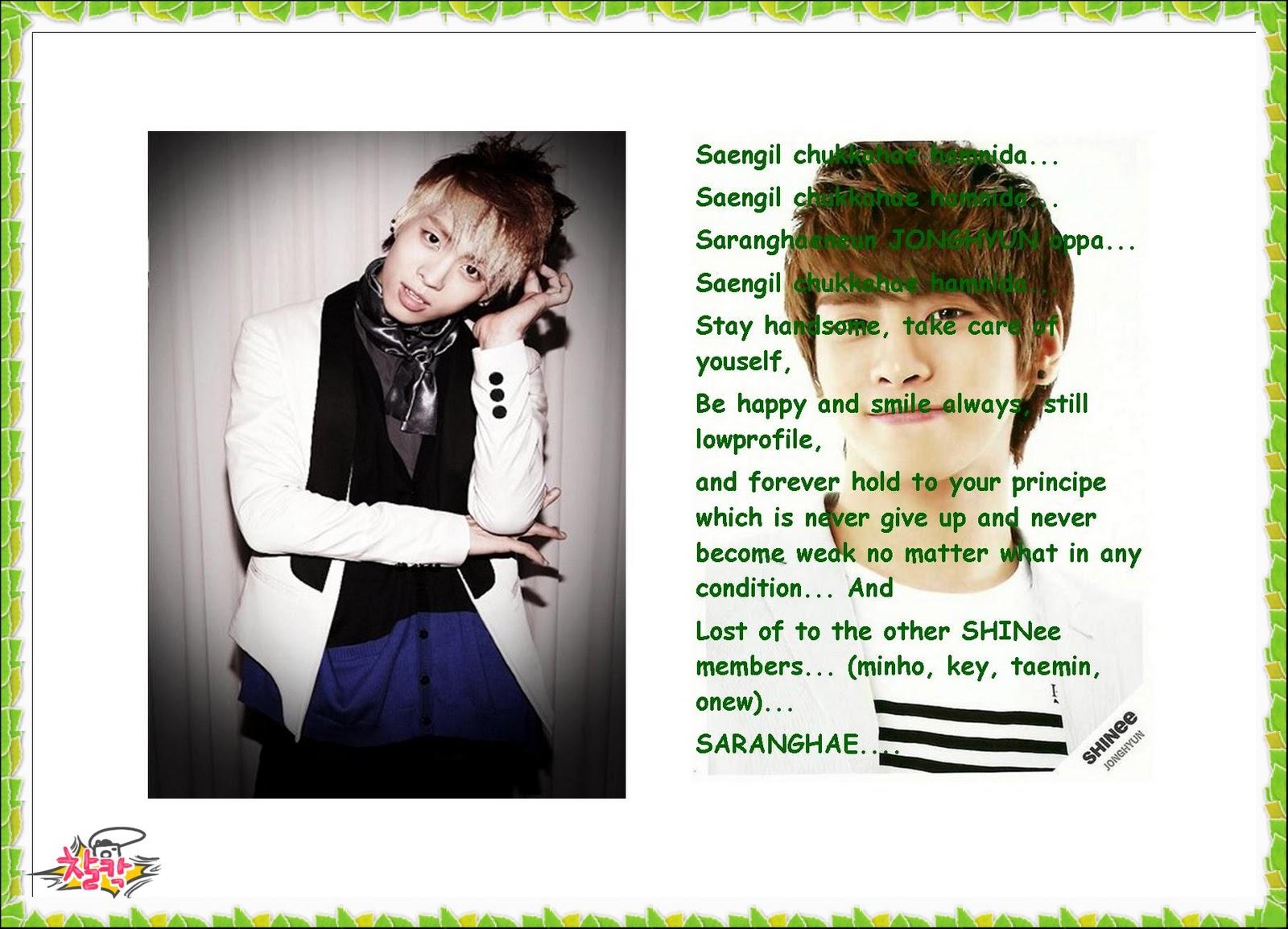 kartu ucapan selamat ulang tahun untuk jonghyun oppa.