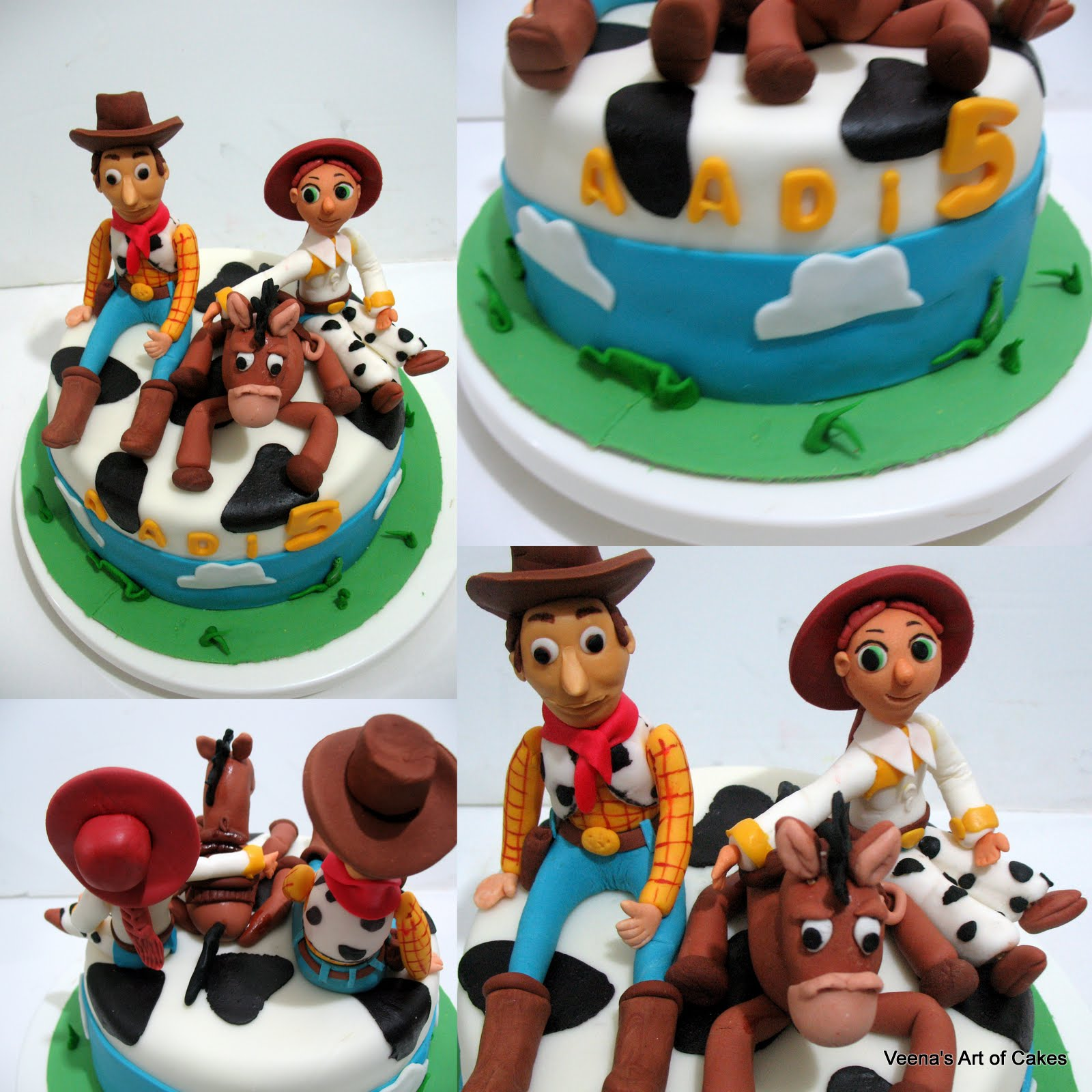 Toy Story Gum : Toy story cake with gumpaste woddy bulls eye and jessie