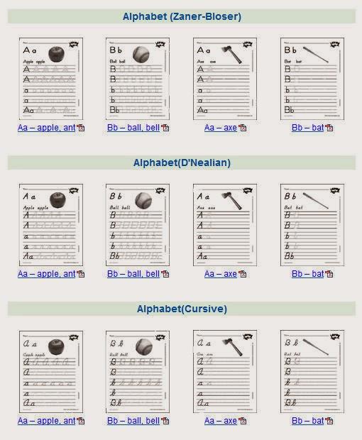 Alphabet Handwriting Sheets
