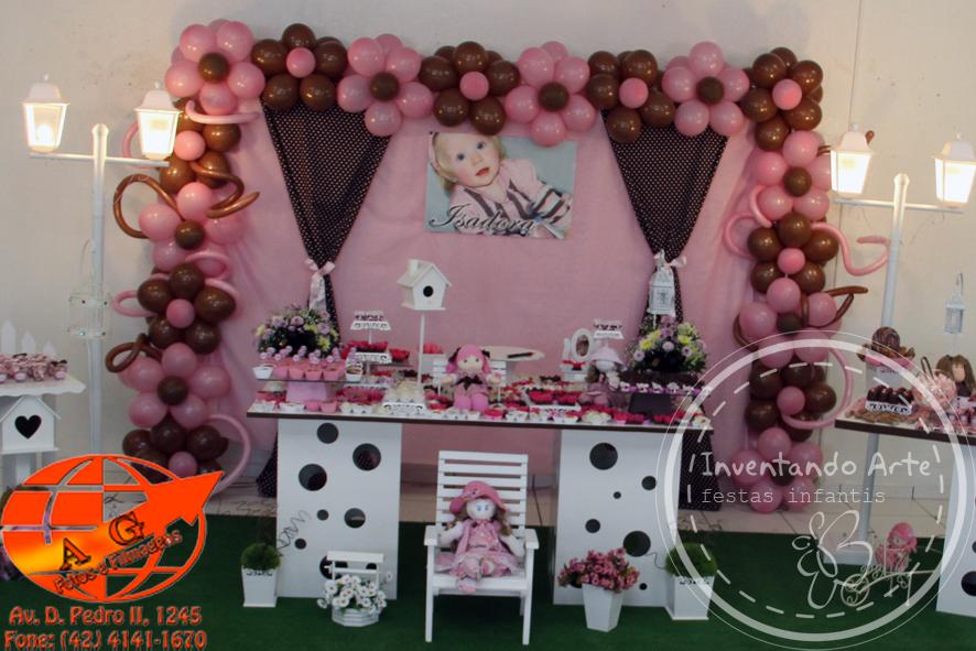 Festa Casinha De Bonecas Marrom E Rosa