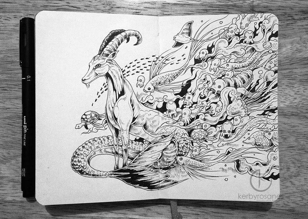 08-Capricorn-Kerby-Rosanes-Detailed-Moleskine-Doodles-Illustrations-and-Drawings-www-designstack-co