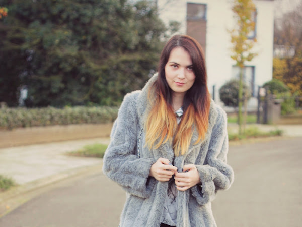 Grey faux fur coat and glitter boots