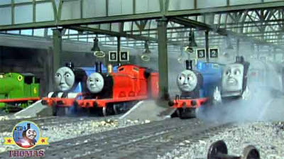 Knapford Thomas the tank engine Percy James and Gordon the train express Fat Controller very cross