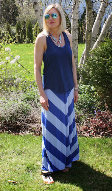 Blue chevron maxi skirt