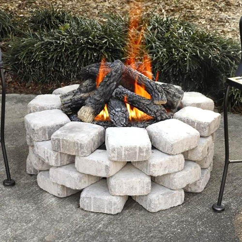 Fireside America Heatmaster Outdoor Expressions Compact Gas Log Fire Pit Kit - NA Fuel