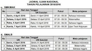 jadwal ujian nasional 2016 SMK