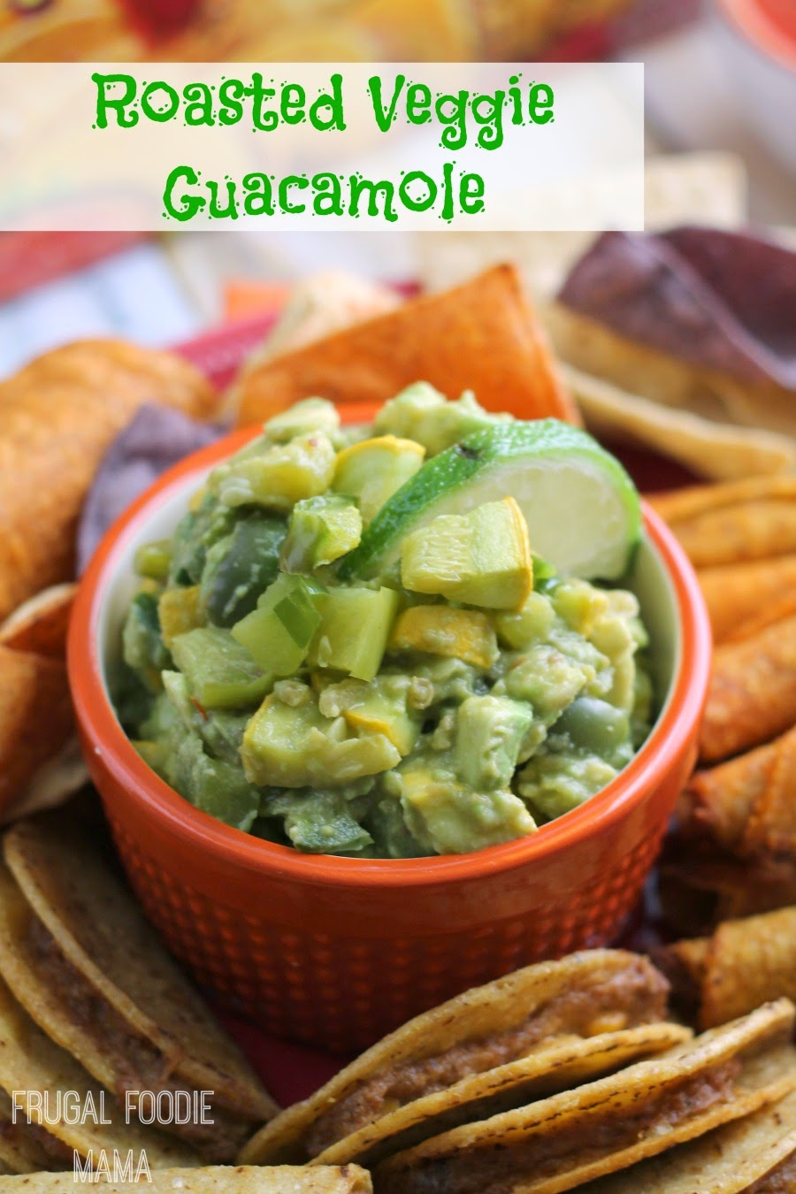 Roasted Veggie Guacamole- this fresh take on classic guacamole is packed with oven roasted veggies #FlavorYourFiesta