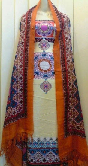 Sitara Thai Linen with Pashmina Shawl Collection for Winter 2014-15