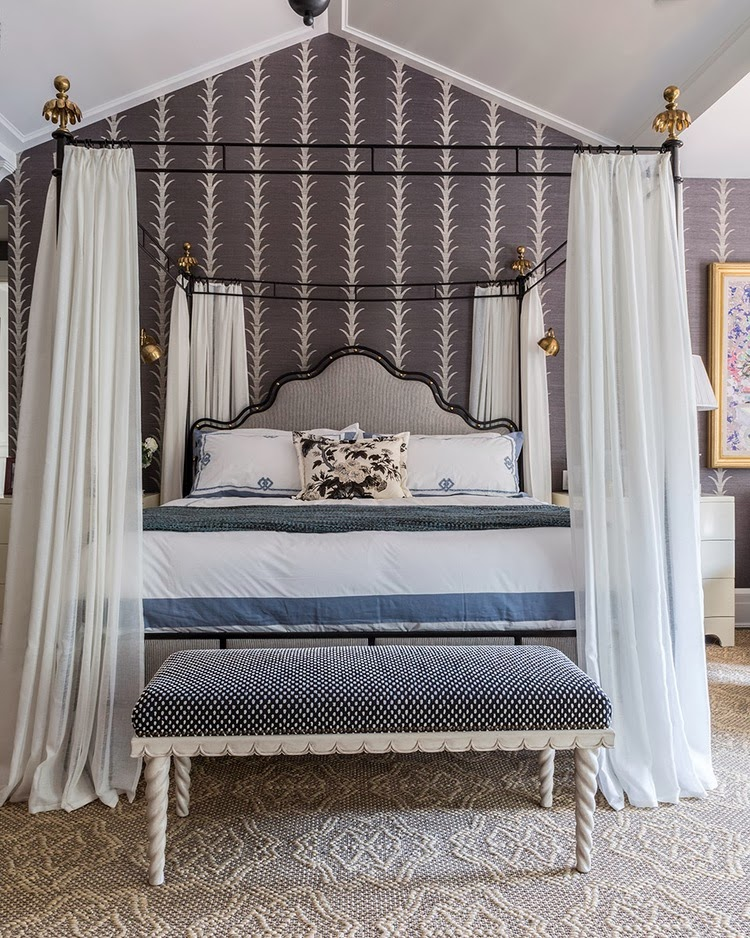 Hamptons bedroom with Queen Anne canopy bed and grape vine wallpaper
