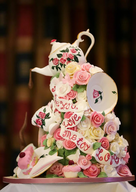 epic cakes 3rd floral afternoon tea vintage wedding cake with teapot on top and teacups, cakes , flowers and saucers