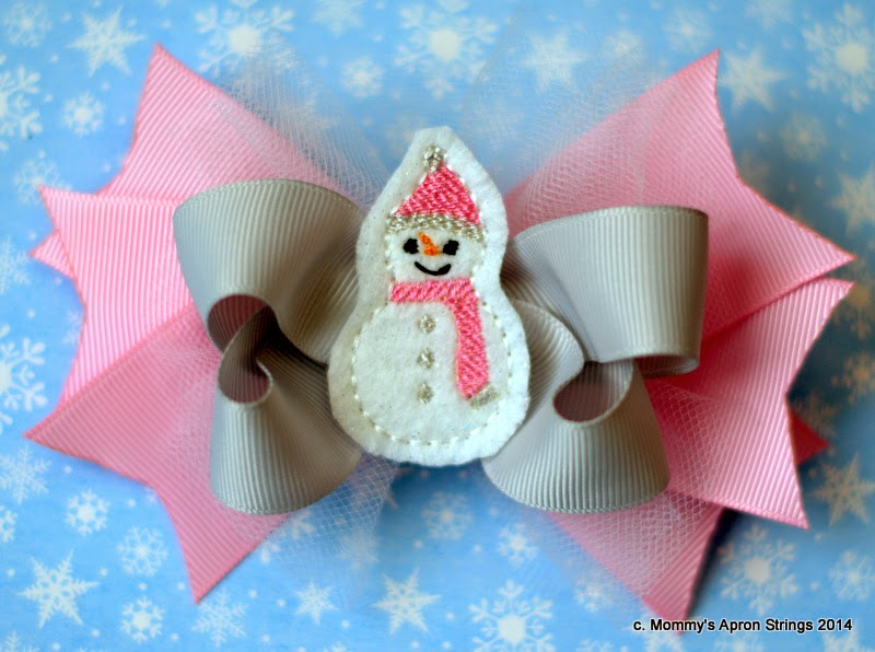 Mommys Apron Strings Free Snowman Feltie Embroidery Design