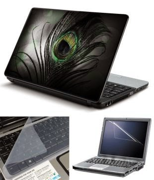Buy FineArts 3 in 1 Laptop Skin Pack – Black Feather With Screen Guard and Keyboard Protector Rs. 349 only at Snapdeal.