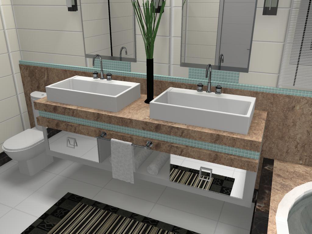 Banheiro para um jovem casal onde usou se mármore travertino marrom  #5F4E3F 1024x768 Banheiro Completo Autocad