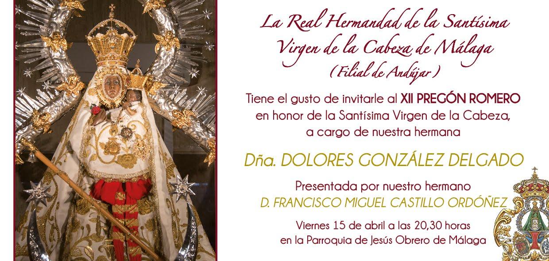 XII PREGÓN ROMERO REAL HERMANDAD DE MÁLAGA