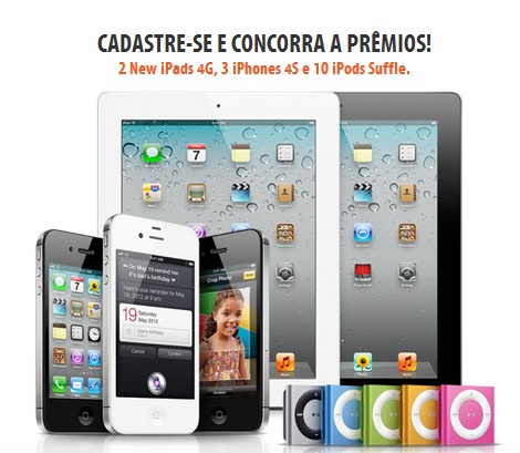 Concorra a 2 New iPad 4G, 3 iPhones 4S e 10 iPods Shuffle