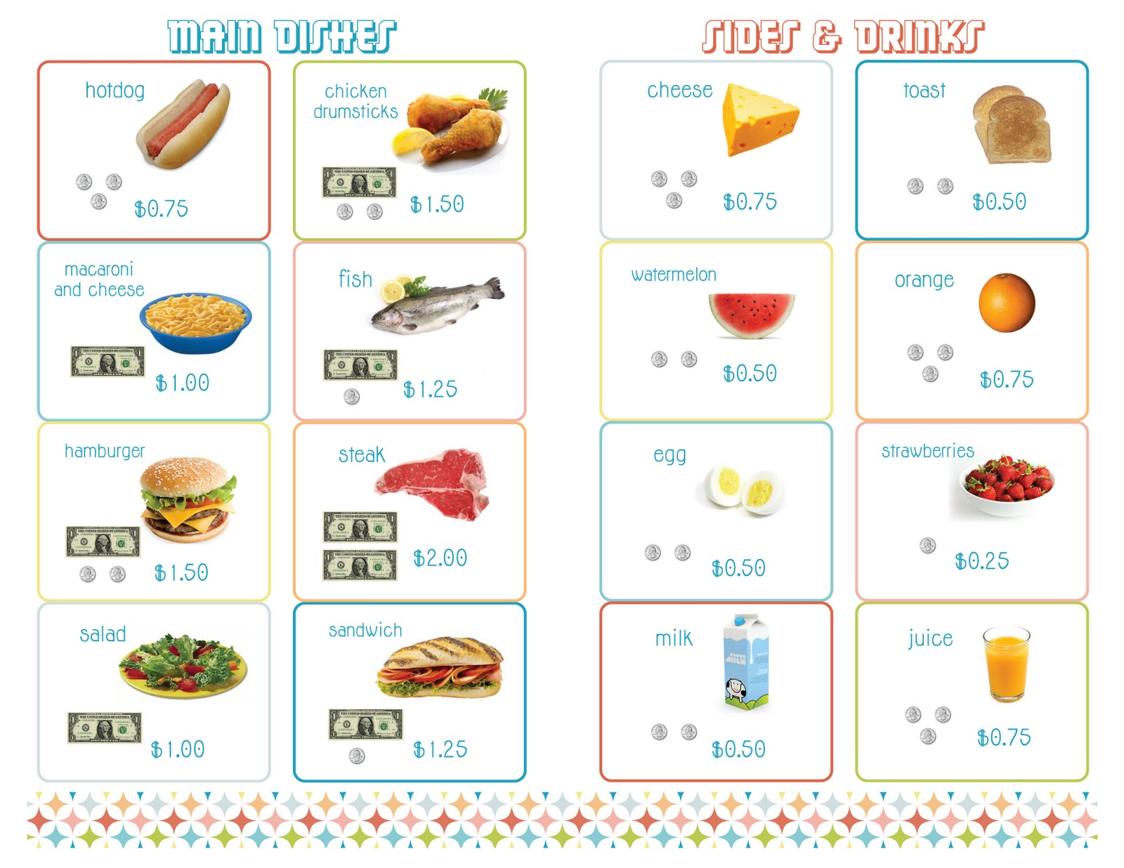 amy j delightful blog PRINTABLE Menus for Playing Restaurant – Free Printable Menu Math Worksheets